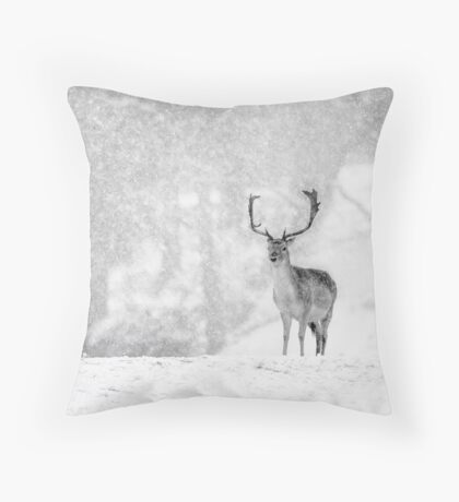 A Stag In The Snow Throw Pillow