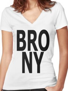 BRONY - (Black Text) Women's Fitted V-Neck T-Shirt
