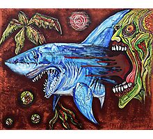 Zombie Eats Shark Photographic Print