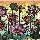nine lotus painting, tattoo flash art by resonanteye
