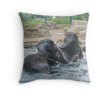 Three elephants swimming Throw Pillow