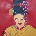 Japanese Geisha in Red  by kreativekate