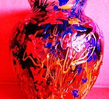 Red Vase with Grafitti by artqueene