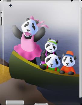 Pandas in Boat by jkartlife