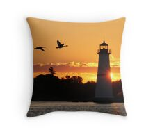 Morning Silhouettes at Rock Island Lighthouse  Throw Pillow