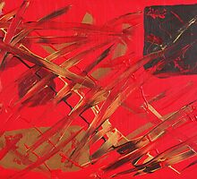Red Oriental Feel Abstract Painting by kreativekate