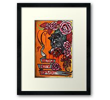 a wolf is fed by his feet. Framed Print