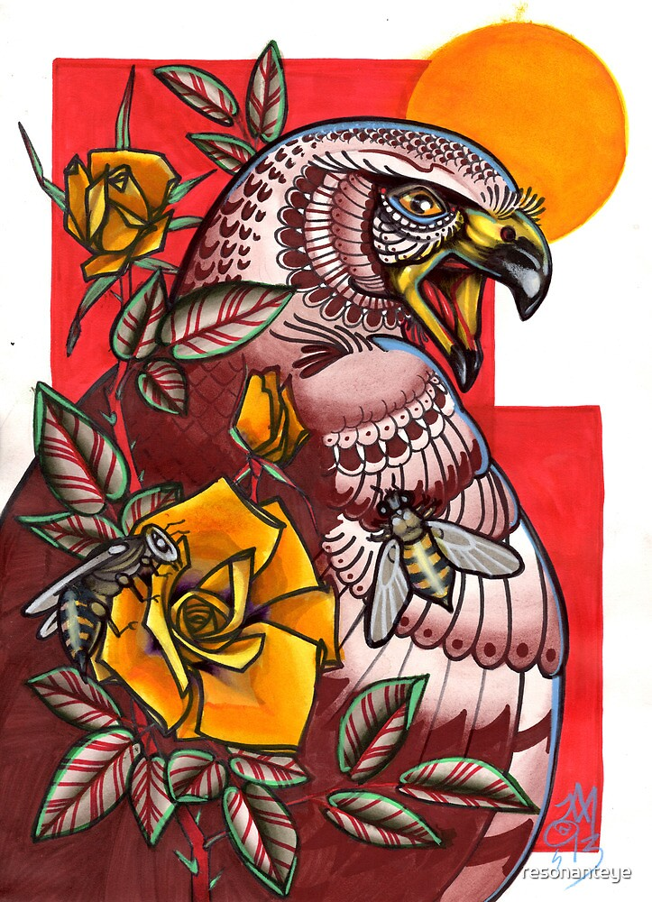 arab spring- hawk with bees and roses by resonanteye