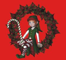 Cute Girl Elf On Poinsettia Wreath Holiday  Kids Tee