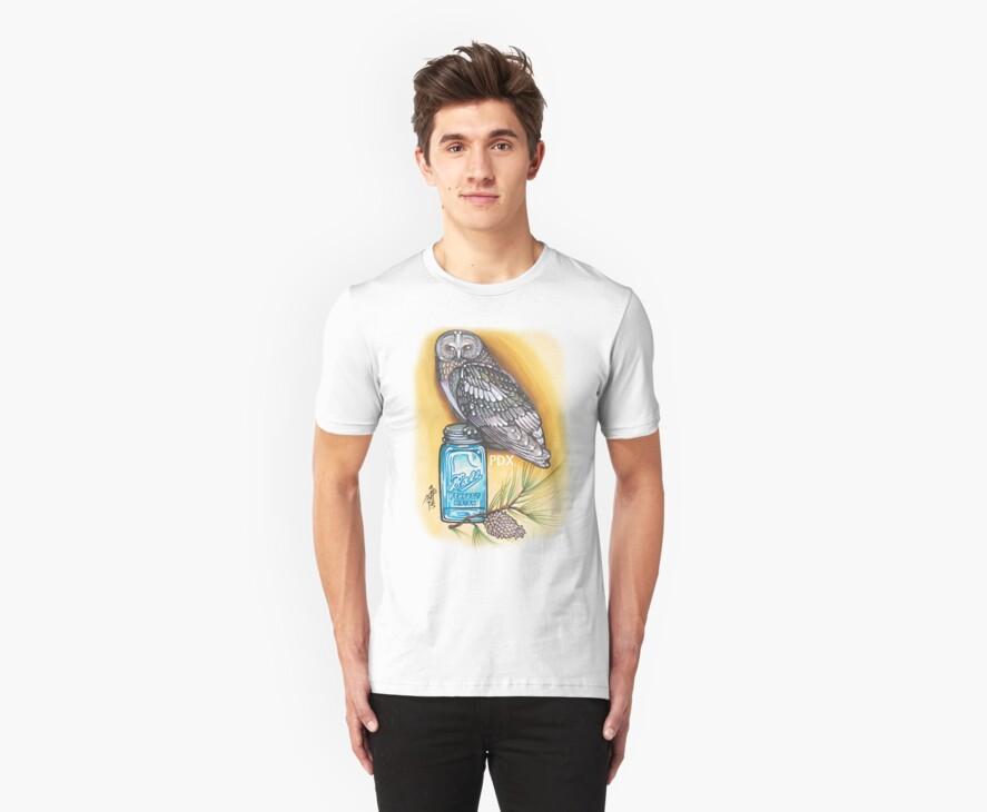 portland owl and mason jar shirt by resonanteye
