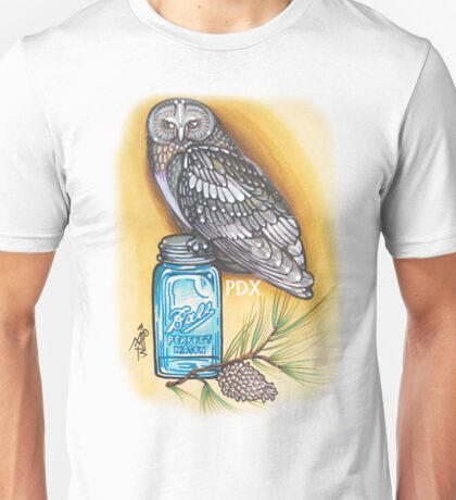 portland owl and mason jar shirt Unisex T-Shirt