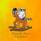 Rock on Teddy iPhone case by Dennis Melling