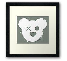 TACTICAL TEDDY LOGO (White on OD Green) Framed Print