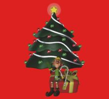 Cute Boy Elf Christmas Tree Holiday  One Piece - Short Sleeve