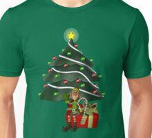 Cute Boy Elf Christmas Tree Holiday  Unisex T-Shirt