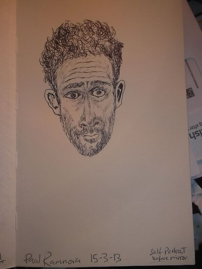 Self-portrait (1 of 2) -(150313)- Black biro pen/A5 sketchbook by paulramnora