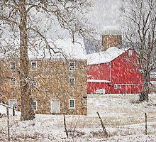 Februaury Snow At Warne's Mill by Pat Abbott