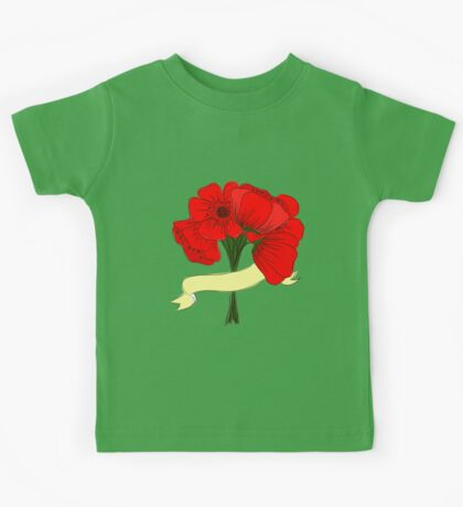 hand drawing bouquet of poppies Kids Tee