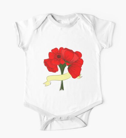 hand drawing bouquet of poppies One Piece - Short Sleeve