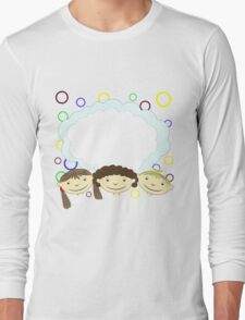 hand drawing children with banner Long Sleeve T-Shirt