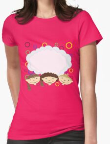 hand drawing children with banner Womens Fitted T-Shirt