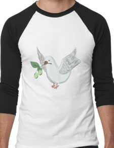 hand drawing dove with an olive Men's Baseball ¾ T-Shirt