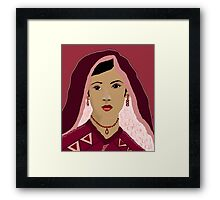 Beautiful Bride in Red Digital Painting Framed Print