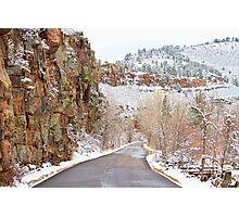 Follow The Red Rock Ridge Winter Road  Photographic Print