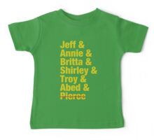 Community Jeff & Annie & Britta & Shirley & Troy & Abed & Pierce Shirt Baby Tee