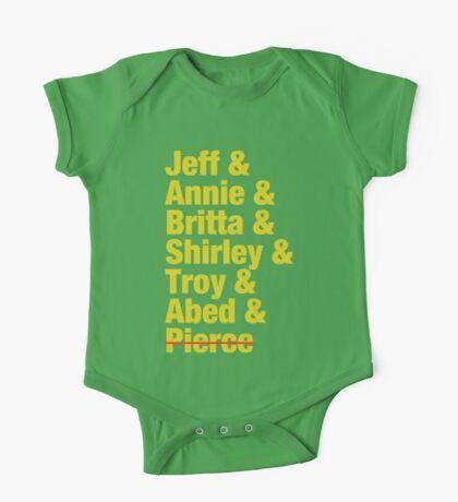 Community Jeff & Annie & Britta & Shirley & Troy & Abed & Pierce Shirt One Piece - Short Sleeve