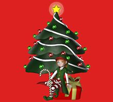 Cute Girl Elf Christmas Tree Holiday  Womens Fitted T-Shirt