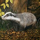 "wildlife painting, ""Badger"" by barryjdavisart"