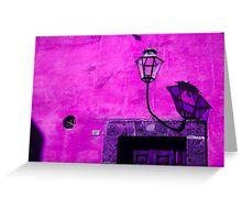 Lamp & Door/Wall-Magenta Greeting Card