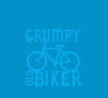 Grumpy old Biker with cycle riding bike bicycle by jazzydevil