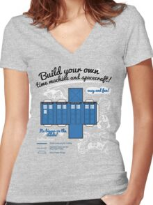 Build your own time machine and spacecraft! Women's Fitted V-Neck T-Shirt