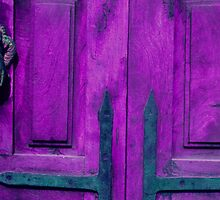 Purple Door with Hand Knocker by Tamarra