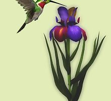 Hummingbird And Iris Flower  by SmilinEyes
