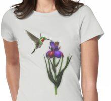 Hummingbird And Iris Flower  Womens Fitted T-Shirt