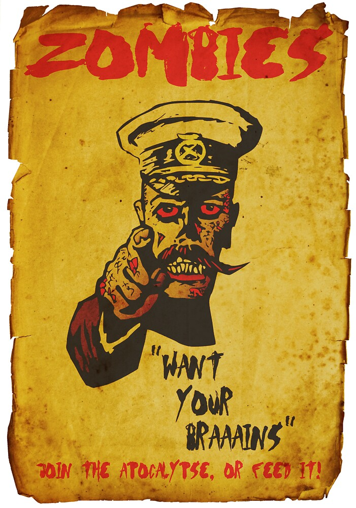 Vintage Zombie Recruitment Poster by Alibarbarella