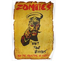 Vintage Zombie Recruitment Poster Poster