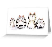 Four funny cats Greeting Card