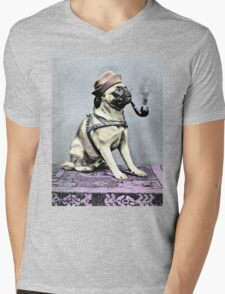 Pug Dog with Hat and Pipe Mens V-Neck T-Shirt