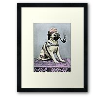 Pug Dog with Hat and Pipe Framed Print