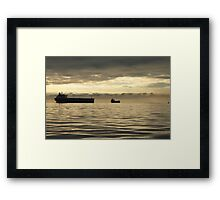 Freighter at Dusk Framed Print
