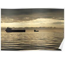 Freighter at Dusk Poster