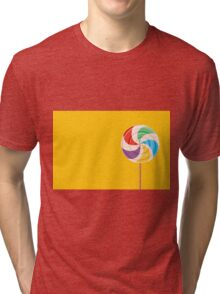 Colorful Lollypop on Yellow Tri-blend T-Shirt