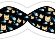 Mustache Fish Cat Black Pattern Sticker
