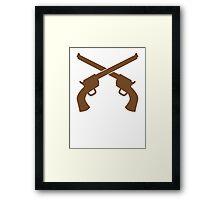 Guns pistols shooters crossed gunslinger Framed Print