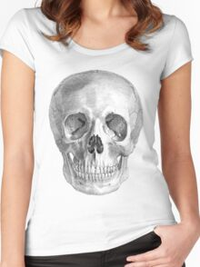 Albinus Skull 01 - Back To The Basic - White Background Women's Fitted Scoop T-Shirt