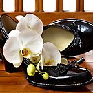 Black dancing shoes and white orchids  by 7horses